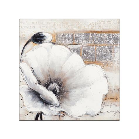 cuisine classique chic fleurs toile coquelicots blanc taupe acrylique 75x75