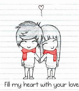 Gallery: Couple Cute Lover Draw, - Drawings Art Gallery