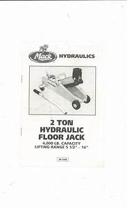 Mack 2 Ton Hydraulic Floor Jack Instructions No  9300 Not Pdf