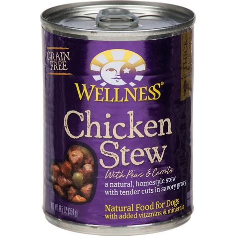 wellness chicken stew  peas carrots canned dog food