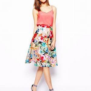 ASOS Scuba Midi Skirt In Neon Floral from ASOS