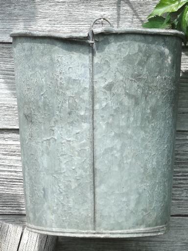 Primitive Old Zinc Galvanized Metal Pail Vintage Farm