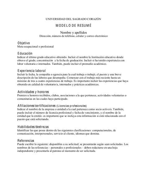 Modelos De Resume by Modelo De Resum 233 En Espa 241 Ol