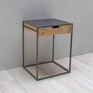 Table De Chevet Metal : table de chevet structure m tal tiroir manguier chehoma ~ Melissatoandfro.com Idées de Décoration