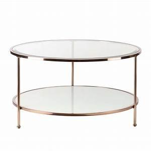 southern enterprises risa round glass top coffee table in With round glass and gold coffee table