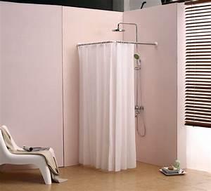 L bathroom curtain cloth hanging rod corner shower curtain for Bathroom curtain poles