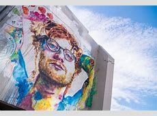 A giant mural of pop star Ed Sheeran has been painted in