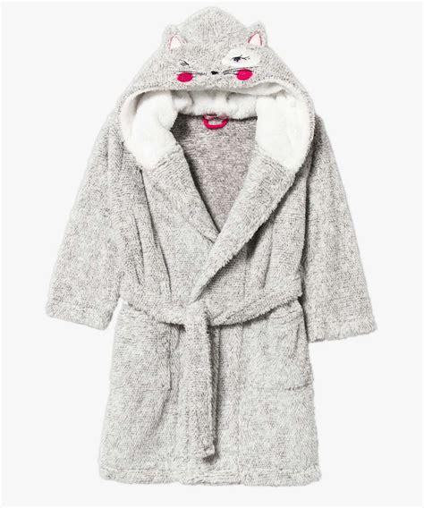 robe de chambre pour fille robe de chambre à capuche en pilou pilou pour fille gémo