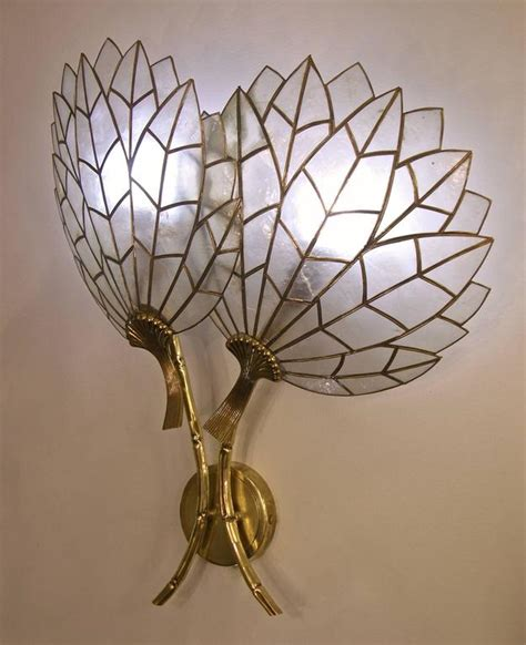 1930s deco flower leaded sconce in of