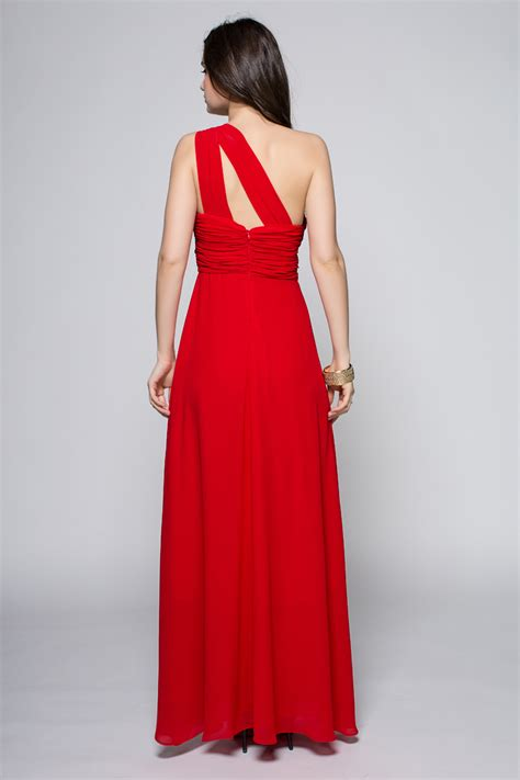 full length red  shoulder prom gown evening dress