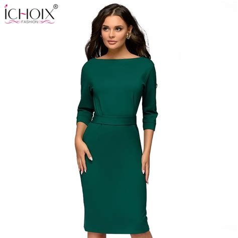 Ichoix Spring Winter Ladies Dress 2019 Work Pencil Dress