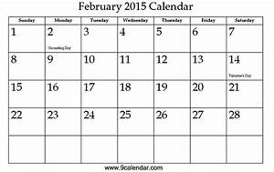 7 best images of cute free printable 2016 february 2015 With calendar template for february 2015