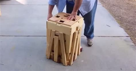 wooden box transform   table  seating