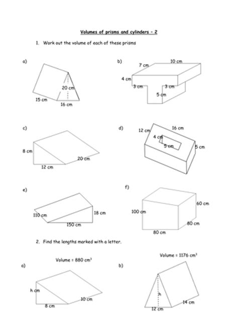Finding The Volume Of Prisms And Cylinders By Charlenewilliams  Teaching Resources Tes