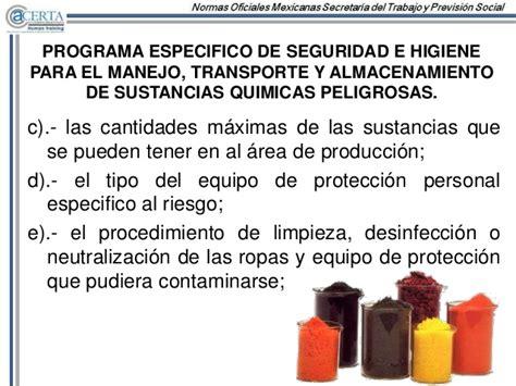nom 005 stps 1998 relativa a las condiciones de seguridad e higiene e