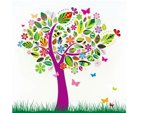 color tree flowers butterfly color tree vector material my free