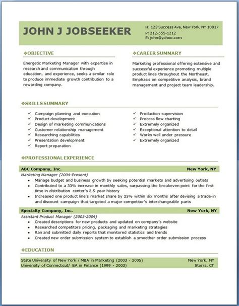 free resume formats free excel templates