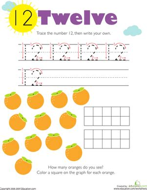tracing numbers counting 12 worksheet education com