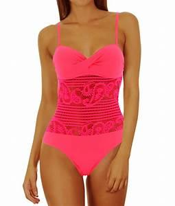 Daxon Maillot De Bain : maillot de bain 1 pi ce dentelle push up rose prissou ~ Melissatoandfro.com Idées de Décoration