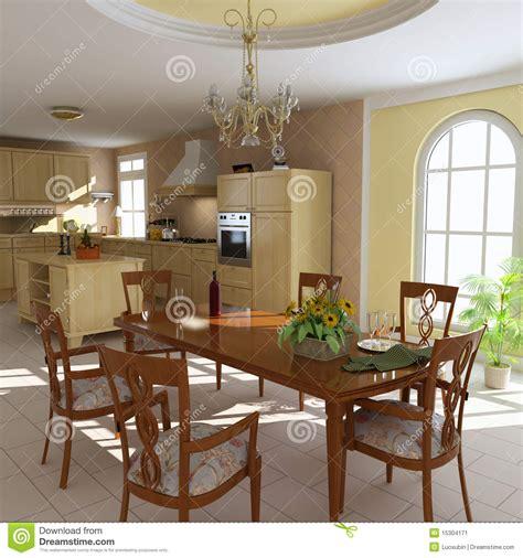 cuisine et salle a manger salle 224 manger et cuisine classiques image stock image 15304171