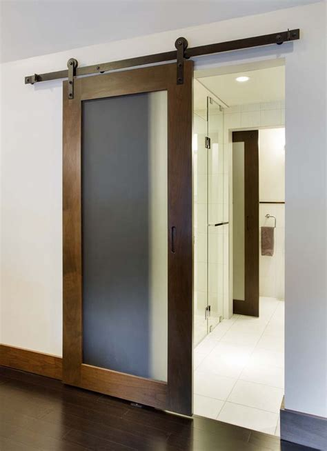 Frosted Glass Sliding Barn Door  Best Home Furniture Ideas