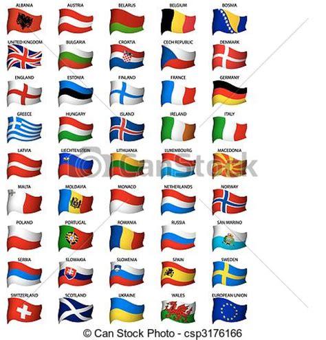 clipart bandiere clipart vettoriali di ondulato set bandiere europeo