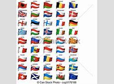 Clip Art Vector of wavy european flags set complete