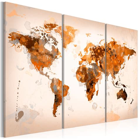 poster grand format mural grand format impression sur toile images 3 carte du monde tableau 020113 251