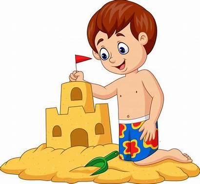 Sand Castle Boy Cartoon Making Sable Dessin