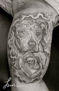 Dia De Los Muertos Dog Face With Rose Tattoo Design For Bicep