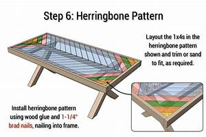 Outdoor Table with X-Leg and Herringbone Top - FREE PLANS