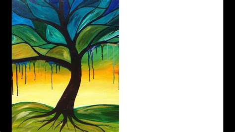 tree painting with drips beginner acrylic painting lesson youtube