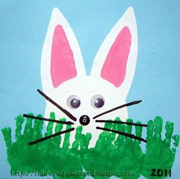 peeking bunny with handprint grass easter craft amp books 347 | b53b61df4438ab094af7a07993e15d99