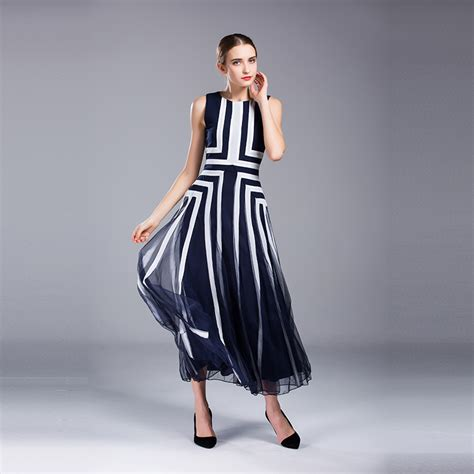 Women Blue White Stripe Summer Maxi Dress Casual Sarafan