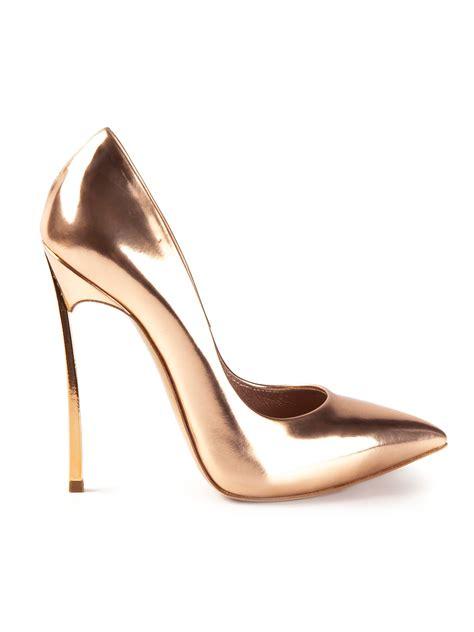 lyst casadei high heel pumps  metallic