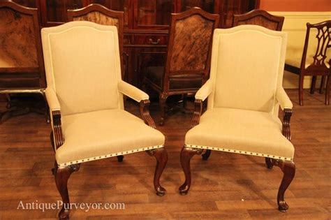 Queen Anne Arm Chairs Upholstered With Neutral Linen