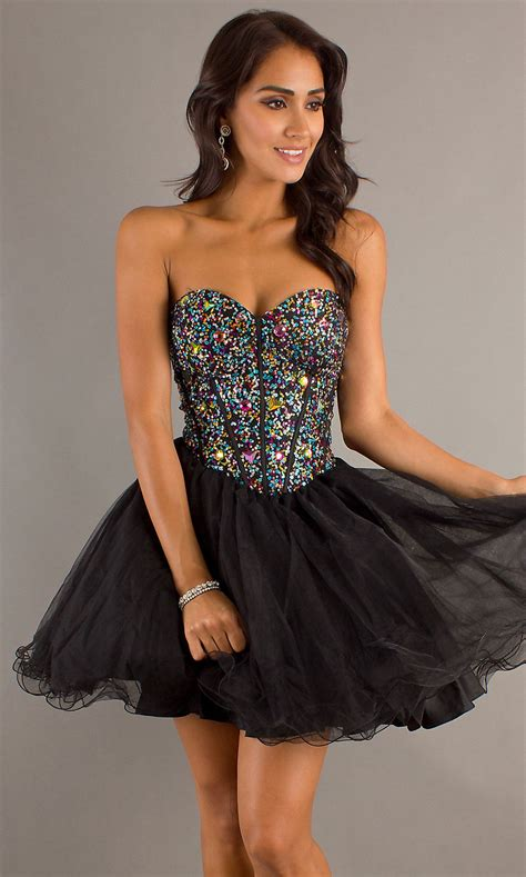 Strapless Sweetheart Multi-Colored Rhinestones beaded A ...