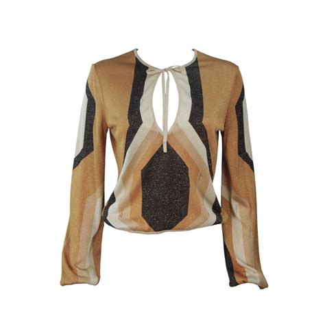 gucci blouse gucci gold brown and sand lurex knit tie front blouse size