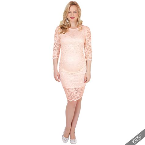 Womens Maternity Stretch Long Sleeve Lace Bodycon Midi