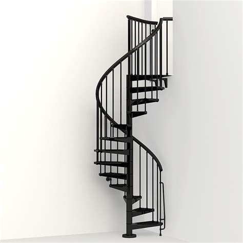 spiral staircase lowes shop arke eureka 47 in x 10 ft black spiral staircase kit at lowes com