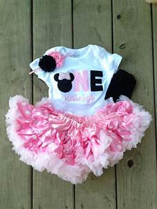 Pink and black minnie mouse birthday outfit - 1st birthday ...