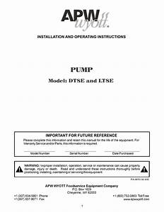 Pump Model  Dtse And Ltse Installation And Operating