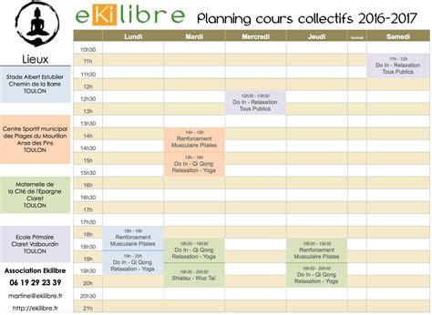 cours de cuisine hebdomadaire planning hebdomadaire des activités 2016 2017 ekilibre