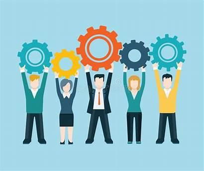 Workforce Cog Wheel Teamwork Modern Flat Concept