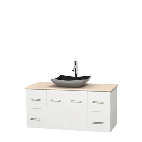 48 in bathroom vanity wyndham collection wcvw00948swhivgs1mxx centra 48 inch single bathroom vanity in white ivory