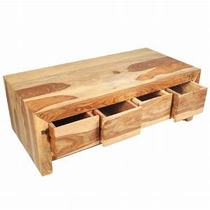 Solid wood contemporary coffee table with storage drawer for Coffee table with drawers and shelf