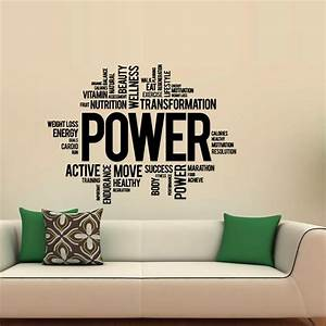 Power fitness wall decals art vinyl sticker sport gym for The best of family decals for walls