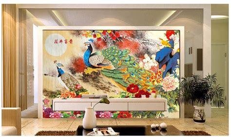 customize wallpaper papel de parede peacock peony painting