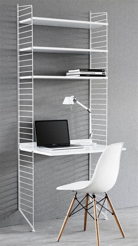 bureau string l 78 cm x h 200 cm blanc string furniture