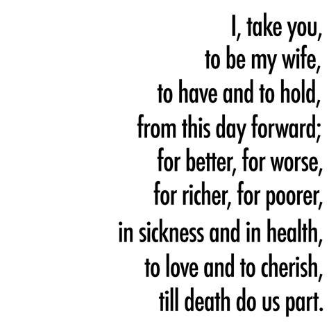 wedding ceremony script  sickness   health